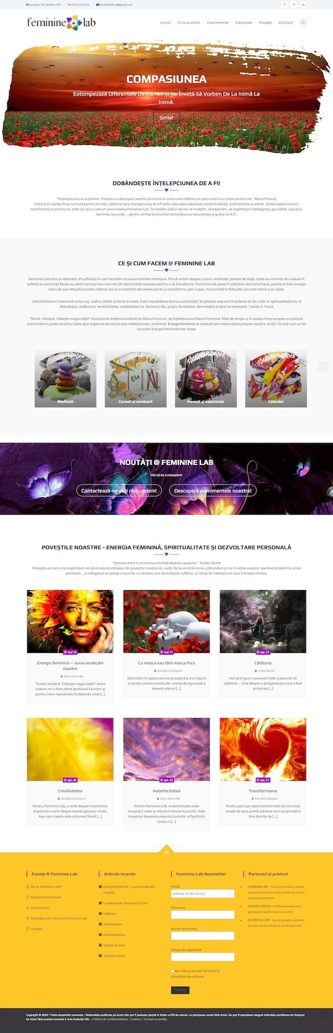 Feminine Lab website homepage