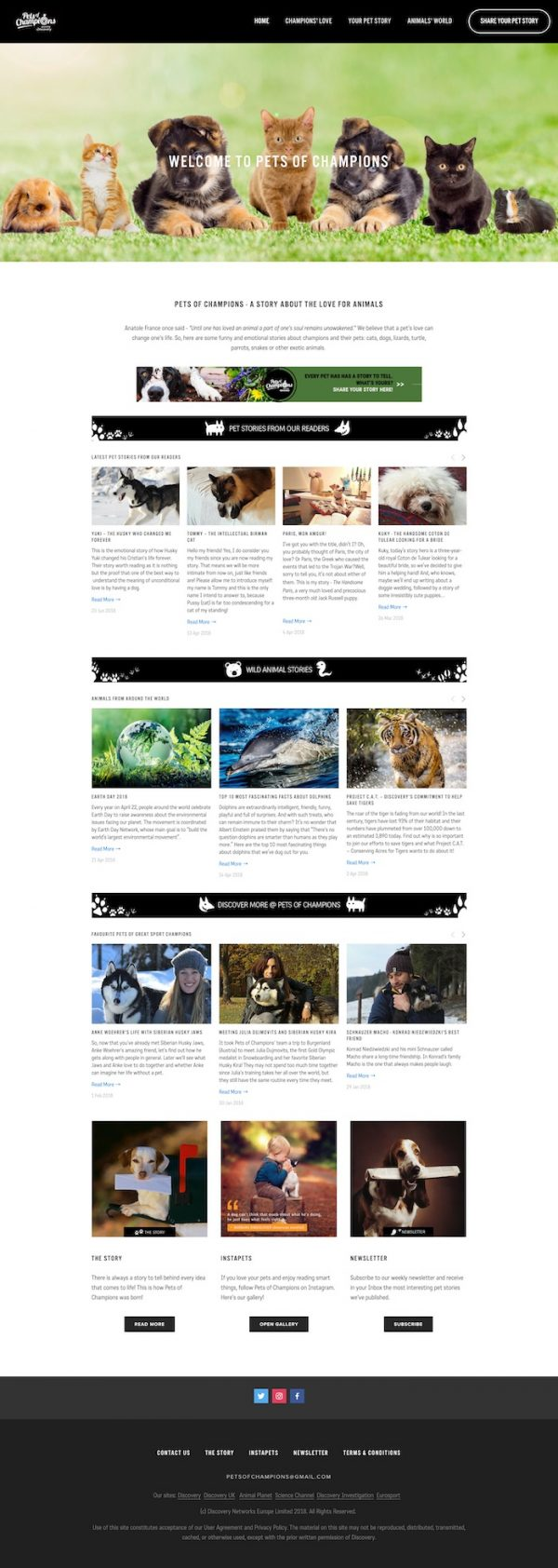 Pets of Champions - homepage